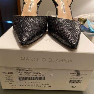 Manolo Blahnik navy slingback